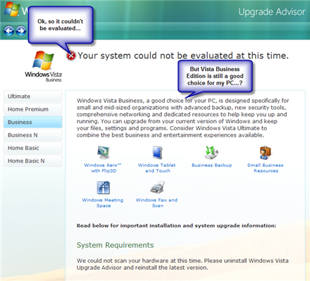 Vista Upgrade Advisor screengrab