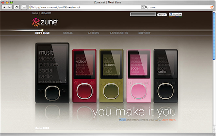Close-up of the zune.net homepage