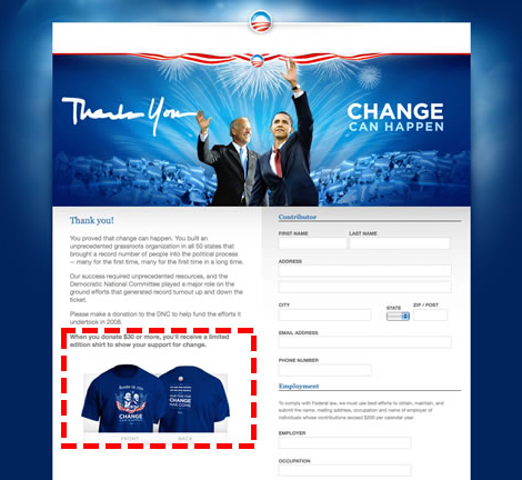 screen grab from barackobama.com with A/B test region depicted