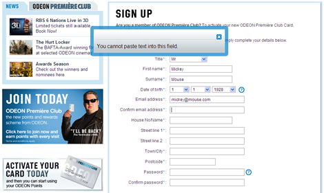 Odeon email confirmation - paste disabling antipattern