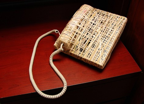 Answering Machine wrapped in rubber bands