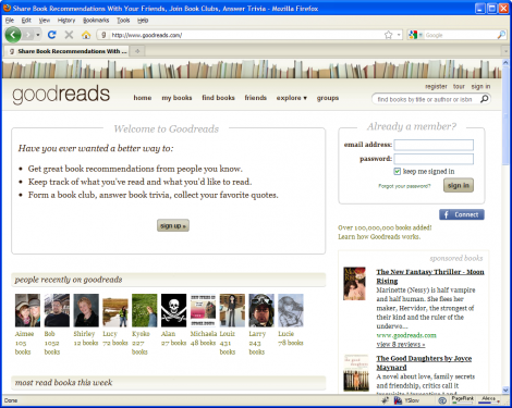 Goodreads Homepage