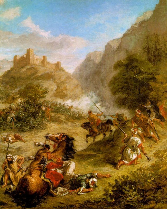 Painting by Delacroix(1863): Arabs Skirmishing in the Mountains