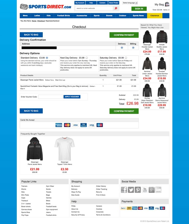 sportsdirect.com dark pattern