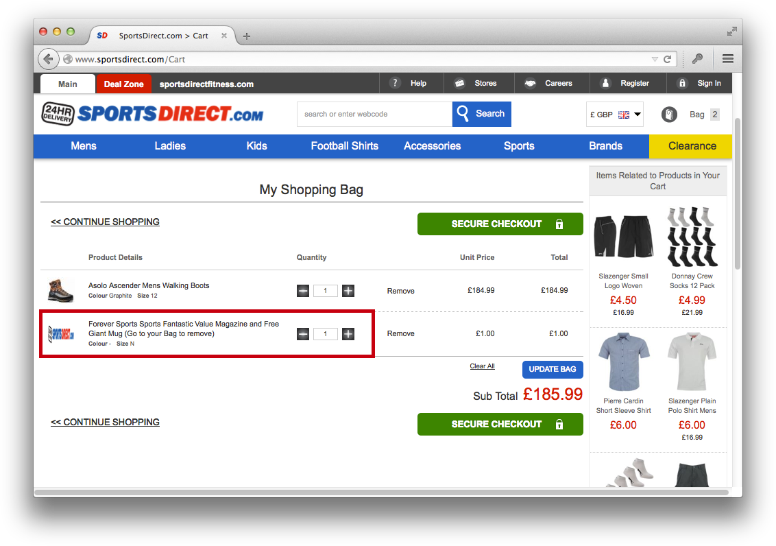 Sportsdirect - sneak into basket dark pattern now illegal
